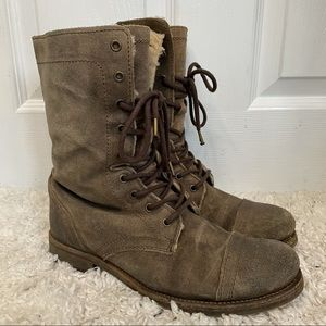 All Saints Suede Army Green Combat Lace Up Boots